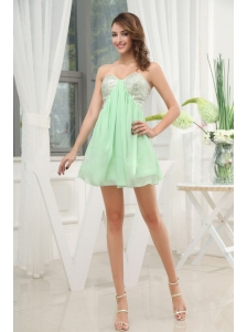 Apple Green Sweetheart Cocktail / Homecoming Dress With Mini-length Sequins For Club