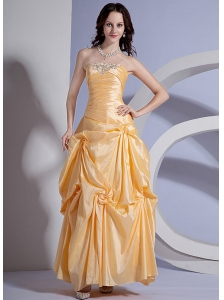 Appliques Decorate Bodice Yellow Taffeta Ankle-length 2013 Prom Dress