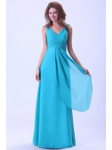 Aqua Blue Bridemaid Dress With V-neck Chiffon Floor-length For Custom Made