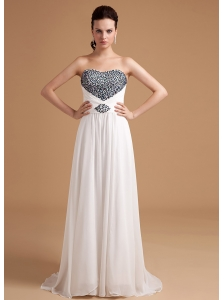 Beaded Empire Prom Dress Brush Train Chiffon