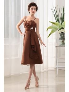 Beading A-Line Straps Chiffon Brown Tea-length Bridemaid Dress