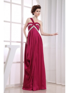 Beading and Ruching Decorate Bodice One Shoulder Wine Red Elastic Woven Satin Prom Dress For 2013 Floor-length