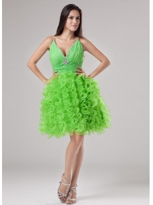 Beading and Ruffles Organza A-line V-neck Prom Dress Mini-length Spring Green