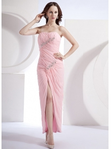 Beading Column Strapless Chiffon Beading Ankle-length Prom Dress Pink