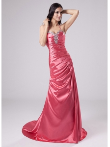 Beading Column Halter Brush/Sweep Elastic Woven Satin Prom Dress Rose Pink