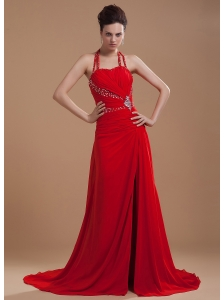 Beading Decorate Bodice High Slit Halter Red Chiffon Brush Train 2013 Prom Dress