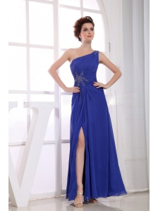 Beading Decorate Bodice High Slit One Shoulder Ankle-length Blue Chiffon 2013 Prom Dress