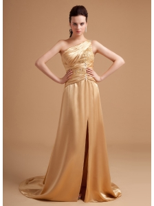 Beading Decorate Bodice One Shoulder High Slit Satin Champagne Brush Train 2013 Prom Dress