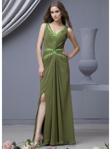 Beading Decorate Bodice V-neck High Slit Olive Green Chiffon 2013 Prom Dress Floor-length