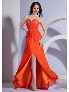 Beading Decorate Bust Sweetheart Neckline High Slit Orange Red Chiffon Brush Train 2013 Prom Dress