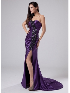 Beading Elastic Woven Satin Column Sweetheart Brush/Sweep Prom Dress Purple