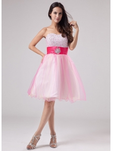 Beading Prom Dress Strapless Organza Mini-length A-Line Pink