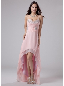 Beading Spaghetti Straps Empire Chiffon High-low Prom Dress Pink