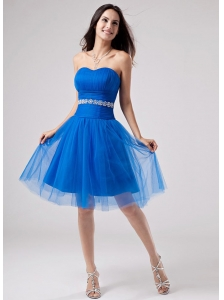 Beading Strapless A-Line Knee-length Prom Dress Tulle