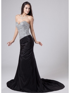Beading Sweetheart Strapless Column Elastic Woven Satin Prom Dress Court Train Black