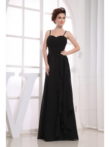 Black Bridemaid Dress With Spaghetti Straps Ruching Chiffon