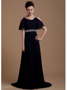 Black Mother Of The Bride Dress With V-neck Beaded Brush Train Chiffon