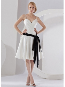 Black Sash Spaghetti  Straps Taffeta Knee-length 2013 Bridemaid Dress
