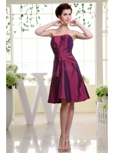 Burgundy Bridesmaid Dress With Ruch Knee-length and Taffeta