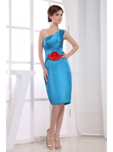 Column / Sheath One Shoulder Knee-length Bridesmaid Dress Taffeta Teal