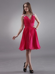 Coral Red V-neck Bridemaid Dress With Beading Chiffon Knee-length