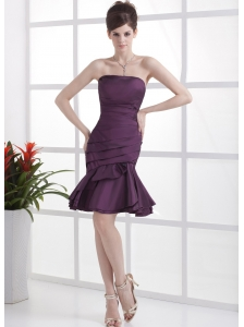 Dark Purple Prom / Cocktail Dress With Ruched Knee-length For Custom Made