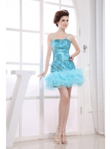 Embroidery Decorate Bodice Aqua Blue Mini-length Spaghetti Straps 2013 Prom Dress