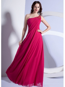 Empire Beading One Shoulder Prom Dress Hot Pink Floor-length Chiffon