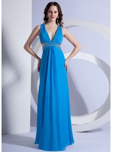 Empire V-neck Floor-length Stylish Prom Dress Beading Chiffon