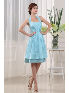 Halter A-Line Knee-length Taffeta Blue 2013 Bridemaid Dress