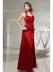 Halter Ruched Ankle-length Wine Red Satin Bridemaid Dress Column