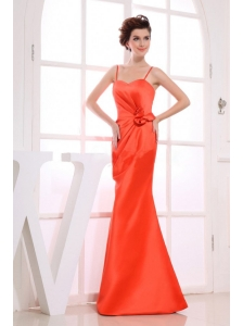 Hand Made Flower Decorate Bodice Spaghetti Straps A-line 2013 Bridemaid Dress Floor-length