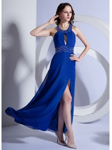 High Slit A-Line Chiffon Beading Ankle-length Column Prom Dress Royal Blue