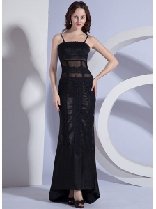 Lace Decorate Bodice Spaghetti Straps Column Black Taffeta 2013 Prom Dress