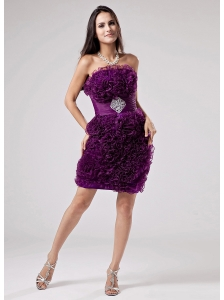 Luxurious Purple Strapless Prom Dress Ruffles Appliques With Organza