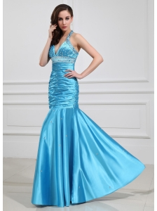 Mermaid Beading Halter Elastic Woven Satin Prom Dress Floor-length Blue