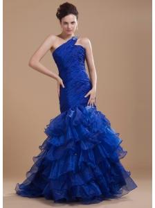 Mermaid Organza One Shoulder Brush/Sweep Ruffles Prom Dress Royal Blue