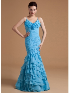 Mermaid Ruffles Prom Dress Organza Floor-length Straps
