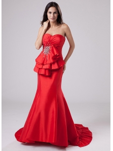 Mermaid Sweetheart Taffeta Brush / Sweep Prom Dress Red Beading
