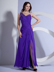 One Shoulder and Beading Ruch For Purple Prom Dress