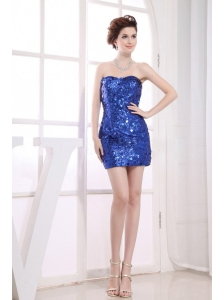 Paillette Over Skirt Mini-length Sweetheart Neckline 2013 Prom Dress
