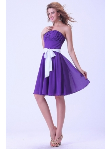 Purple Bridemaid Dress With White Sash Chiffon Knee-length