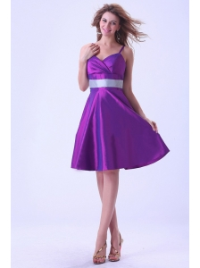 Purple Spaghetti Straps Bridemaid Dress  Knee-length Taffeta