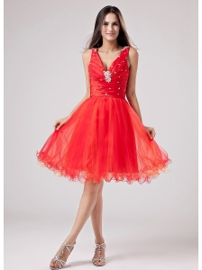 Red V-neck Sweet 2013 Prom Dress With Beading and Ruch Organza