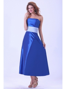 Royal Blue Bridemaid Dress With Sash Tea-length Taffeta