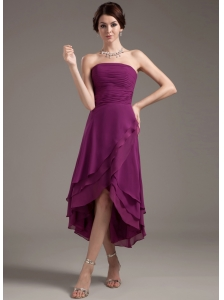 Ruching Decorate Bodice High-low Dark Purple Strapless
