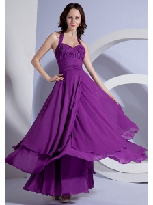 Ruching Decorate Up Bodice Purple Chiffon Ankle-length Halter 2013 Prom Dress