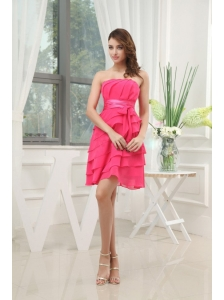 Ruffled Layers Strapless Mini-length Coral Red Chiffon Sash 2013 Prom Dress