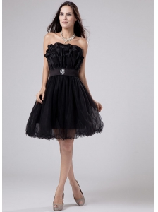 Sashes / Ribbons A-Line Strapless Mini-length Prom Dress Black Tulle