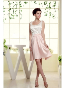 Scoop Bridesmaid Dress With White and Baby Pink Mini-length